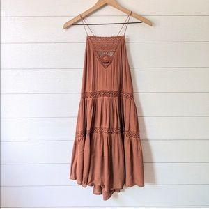 Amuse Society Boho Linnea Brown Lace Dress M